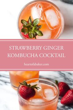 Are you looking for a quick and easy cocktail recipe? Click through to find out how to make this Strawberry Ginger Kombucha Cocktail! | Heart of a Baker #cocktail #cocktailrecipe #kombuchacocktail Easy Alcoholic Drinks, Easy Cocktails, Drinks Alcohol Recipes, Cocktail Recipes, Kombucha Cocktail, Strawberry Vodka, Vegan Recipes, Cooking Recipes, Healty Dinner