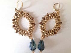 handmade earrings of gold superduo and a blue metallic by tizianat