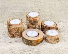 Satz von 5 / Holz Kerzenständer / Tee Licht Halter / Tree Branch Kerzenhalter