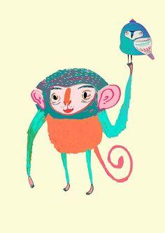 Monkey and Owl. Kids Decor. Children's Wall Art. by AshleyPercival, $30.00