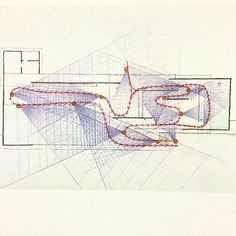 """Paul Rudolph, drawing of the Barcelona Pavilion (1986). """"Circulation and cones of vision."""""""