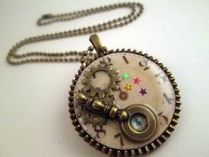 ** SOLD **  STEAMPUNK TIMEPIECE Unisex Collage Pendant With by Garnishments, $26.00
