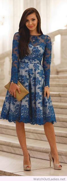 Blue lace white lined midi dress