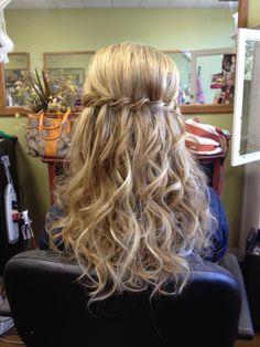 Waterfall braid with extensions, curls, half up, bridal party, wedding hair by Jamilyn owner of Egos & Envy Hair Salon