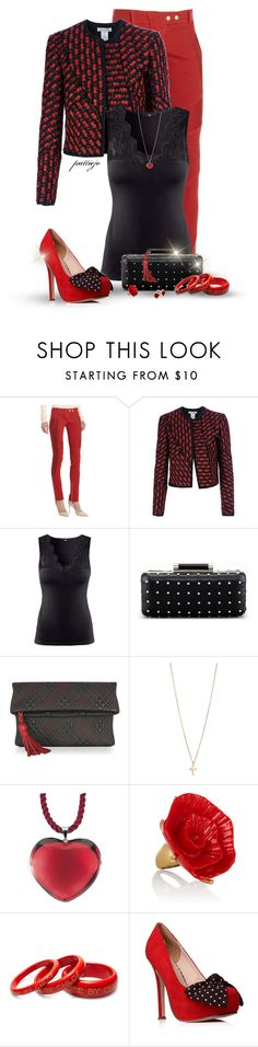 """""""That Old Red Magic"""" by rockreborn ❤ liked on Polyvore featuring Balmain, Oscar de la Renta, H&M, Diane Von Furstenberg, Fontanelli, Minor Obsessions, Baccarat, See by Chloé and Miss KG"""