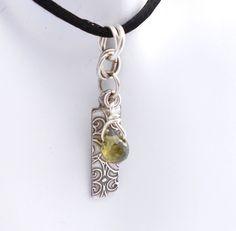 Silver Necklace, Fine Silver Pendant, Precious Metal Clay, PMC, with Emerald Green Cubic Zirconia via Etsy.