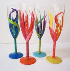 51b2dbcaecc Live in Colour - Champagne glass set of 4 - hand painted - colorful -  rhinestones - glitter - perfect for big celebrations