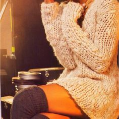 Sweater + thigh high sweater socks -- comfy love!                              …