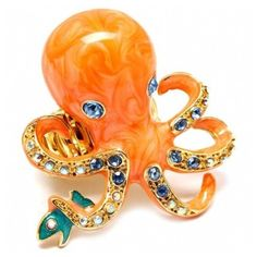 Risa's Orange Octopus & Fish Cocktail Ring ($40) ❤ liked on Polyvore featuring jewelry, rings, accessories, orange, fillers, dot jewelry, polka dot jewelry, swirl ring, fish ring and adjustable rings