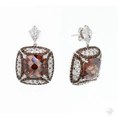 """FERI - Phoenix Flight - Earrings - Exclusive FERI 950 Siledium silver - Exclusive dual natural rhodium and palladium plating - Set with exclusive FERI Swan cut lab stones - Colour: white and coffee-colour - Dimension: 30mm x 23mm (1.2"""" x 0.9"""") - Wt. 15.6/gm. - SQ.12mm Invest with confidence in FERI Designer Lines.   www.gwtcorp.com/ghem or email fashionforghem.com for big discount"""
