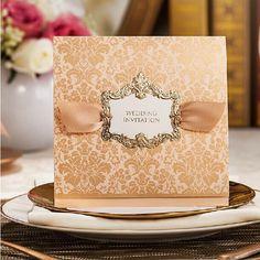 High Class Wedding Invitations 2014 Elegant Golden Flower Printing Convites De Casamento Invitation Cards Free Customized Printing, $1.26   DHgate.com