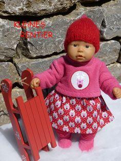 """Puppenkleidung - """"Kleines Rentier"""" 5tlg Set Gr.35-40cm - ein Designerstück von handgeschick bei DaWanda"""