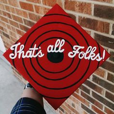 """""""That's All Folks"""" toon inspired graduation cap - Decoration For Home Funny Graduation Caps, Graduation Cap Toppers, Graduation Cap Designs, Graduation Cap Decoration, College Graduation, Graduate School, Graduation Ideas, Funny Grad Cap Ideas, Graduation Hats"""