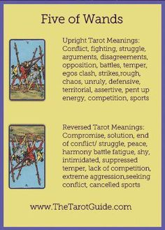 Five of Wands Tarot Flashcard showing the best keyword meanings for the upright & reversed card, free online Minor Arcana flashcards, made by professional psychic Tarot reader, The Tarot Guide, the easy way to learn how to accurately read Tarot. Five Of Wands, Tarot Cards For Beginners, Tarot Astrology, Online Tarot, Tarot Card Meanings, Tarot Spreads, Tarot Readers, Card Reading, Easy