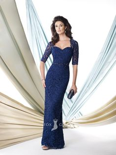 lace royal blue sweetheart floor length elbow sleeve mother of the bride dress