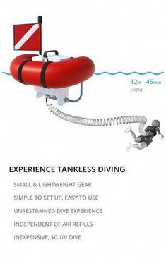 Easy, simple and free shallow water diving with AirBuddy. Using the Hookah diving principle (air supplied from the surface), AirBuddy does not require the air tanks used for SCUBA diving and other bulky gear such as BCD (buoyancy control device)! Scuba Diving Mask, Best Scuba Diving, Cave Diving, Belize Diving, Sea Diving, Scuba Bcd, Scuba Watch, Foto Sport, Shopping