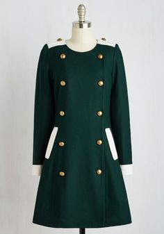 When Opera-tunity Knocks Coat. A long-awaited outing leads you to looking impeccably dapper in this forest green coat. #green #modcloth