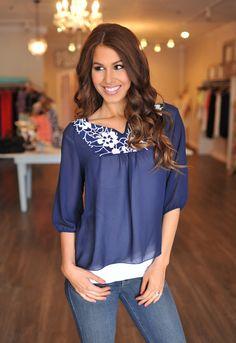 Dottie Couture Boutique - V Blouse- Navy/White, $28.00 (http://www.dottiecouture.com/v-blouse-navy-white/)