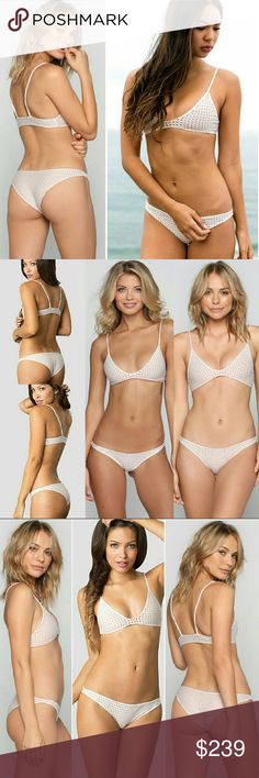 Acacia bikini set na pali waikoloa haupia mesh M/M NO TRADE ONLY SELLING AS A SET  Never worn! Napali / Waikoloa bikini set in haupia white cream mesh / toples tan lining by acacia swimwear. Medium na pali bra bikini top & Medium waikoloa panty bikini bottom. I'm very reluctant to sell. Cut tags off but never wore it. From the 2015 Tauhani collection. I can't tell the difference between haupia & foam mesh (looks same to me), but just want to point out this is the haupia mesh, not foam. Price…