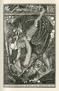 Henry Justice Ford's illustration of Beowulf from the book  The Red Book of Animal Stories  1899