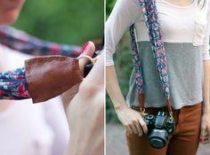 Por que não usar um dos seus lenços favoritos? Veja como fazer uma alça de câmera personalizada. - Veja mais em: http://www.vilamulher.com.br/artesanato/passo-a-passo/aprenda-a-fazer-uma-alca-de-camera-personalizada-m0115-698037.html?pinterest-destaque