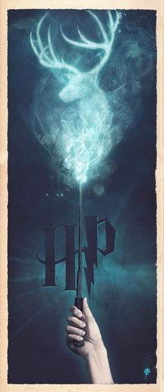 """Harry Potter: Expecto Patronum"" by Ajay Naran, london // A part a series of Harry Potter ""wand"" prints I'm producing, this one displays Harry casting a Patronus charm.    // Imagekind.com -- Buy stunning, museum-quality fine art prints, framed prints, and canvas prints directly from independent working artists and photographers."