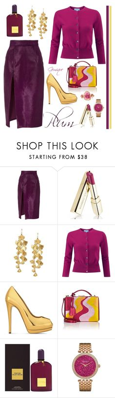 """Plum"" by gemique ❤ liked on Polyvore featuring Brandon Maxwell, Dolce&Gabbana, Tory Burch, Pure Collection, Giuseppe Zanotti, Mark Cross, Tom Ford and Caravelle by Bulova"