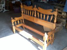 bench i made from a fullsize bed frame. going to paint it lime green for the garden
