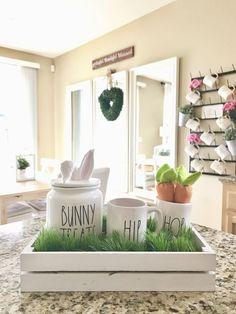 Rae Dunn Display Ideas To Make Beautiful Decor In Your Home 21011 Farmhouse Table For Sale, Farmhouse Decor, Antique Farmhouse, Ray Dunn, Seasonal Decor, Holiday Decor, Holiday Ideas, Holiday Fun, Hoppy Easter