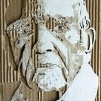 Cardboard Relief Portrait – Old Man
