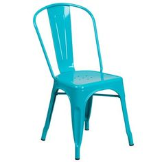 Crystal Blue Metal Indoor-Outdoor Stackable Chair - Flash Furniture transform your living or restaurant space with this vintage style chair. Adding colorful chairs can rev up any setting. The versatility of this chair easily confor Chaise Eiffel, Deco Boheme Chic, Bleu Turquoise, Teal Blue, Color Blue, Colour Light, Pink White, Light Blue, Outdoor Dining Chairs