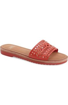 SARTO By Franco Sarto 'Maclean' Studded Laser Cut Flat Slide leather red, robin blue, back, white sz7.5 88.95 3/16