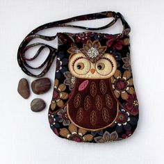 "Owl Small Quilted and Embroidered Shoulder Bag Cross Body Fabric Purse ""Tihana"" in brown, tan, floral on black"