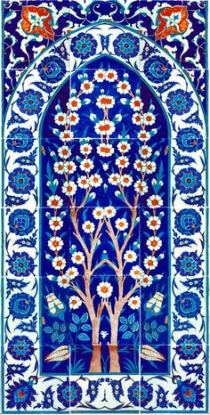 Tiles - Variatons on the Century Cobalt-blue Ground Panel from the mimber of the Rustem Pasa Mosque, Istanbul - Custom Wallpaper Turkish Tiles, Turkish Art, Portuguese Tiles, Moroccan Tiles, Islamic Art Pattern, Pattern Art, Arabic Pattern, Pattern Images, Islamic Tiles