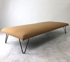 Vintage Mid Century Modern Minimalist Iron Hairpin Bench Daybed Sofa Bed
