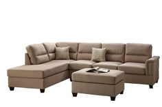 Poundex Bobkona Toffy Linen-Like Left Right Hand Chaise Sectional Ottoman Set, Sand Best Sectional Couches, 3 Piece Sectional Sofa, Double Chaise Sectional, 3 Piece Sofa, Sectional Ottoman, Sectional Sofa With Recliner, Chaise Sofa, Sofa Set, Home Decor Furniture
