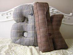 tweed initial pilllow - too stinkin cute