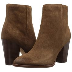 Sam Edelman Blake (Woodland Brown Velour Suede Leather) Women's Shoes (560 SAR) ❤ liked on Polyvore featuring shoes, boots, ankle booties, faux suede boots, suede boots, brown booties, brown high heel boots and suede ankle boots