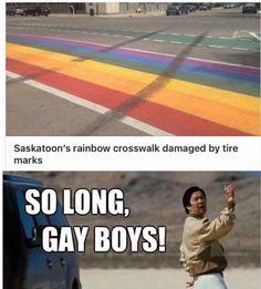 Saskatoon's rainbow crosswalk damaged by tire marks - iFunny :) Porsche, Audi, Funny Car Quotes, Ferrari, Lamborghini, Tire Marks, Gay, Mirror Wall Stickers, The New School