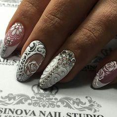 French white Swarovski crystal 3D flower nail art