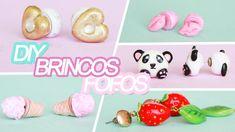 DIY 5 brincos fofos, soverte, morango, panda, coração e boquinha #brincos #biscuit #sorvete #panda #fofo #coração #morango #boca #boquinha #polymer #clay #diy #tutorial