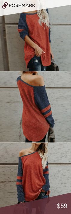 b11f74f537 ... Off-Shoulder Oversized Knit Jumper Top Unbranded from US  Distributor Cottonblend Oversized fit Color a red-orange w Blue contrast  sleeves Size Large but ...