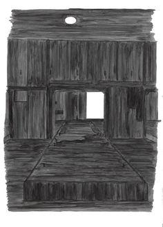 Unknown black substance #3, bunker-roet-inkt op papier, 21 x 30 cm