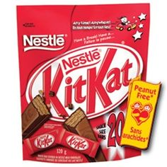 KitKats made in the USA are unfortunately NOT peanut-free. But these KitKats from Canada are! If you live in the U.S., you can order them from Peanut Free Planet.