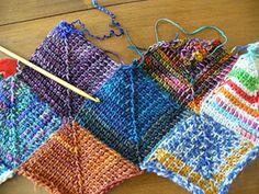 free on Ravelry - Bandwagon Blanket - uses scrap fingering or sock yarn and an H hook (done in Tunisian crochet, or afghan stitch) ༺✿ƬⱤღ  http://www.pinterest.com/teretegui/✿༻