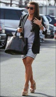 blazer. striped dress  wedges