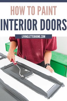 How to paint interior doors like a pro! via Living Letter Home Painted Interior Doors, Black Interior Doors, Interior Paint, Painting Trim Tips, House Painting Tips, Green Nightstands, Farm House Colors, Black Spray Paint, Diy Flooring