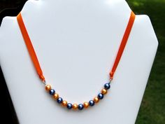 Navy Blue and Orange Ribbon Necklace.  16 inch.  by NammersCrafts, $6.00