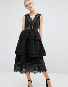Shop Lost Ink V Neck Dress With Lace And Frill Detail. With a variety of delivery, payment and return options available, shopping with ASOS is easy and secure. Shop with ASOS today. V Neck Dress, Dress Up, Carnival Outfits, Asos, Ruffle Dress, Ruffles, Fit And Flare, Bridesmaid Dresses, Maxi Dresses