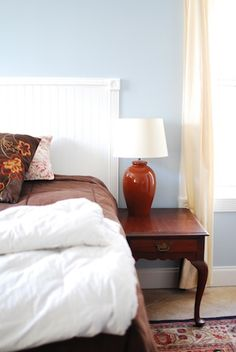 A simple headboard using bead board - probably would do something fancier with the sides